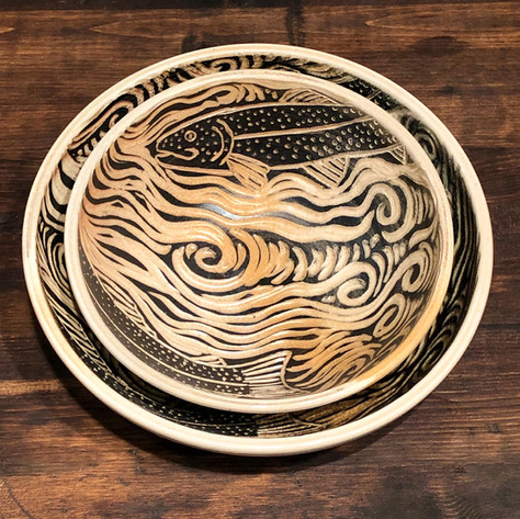 Wood Fired Fish Pottery Bowls