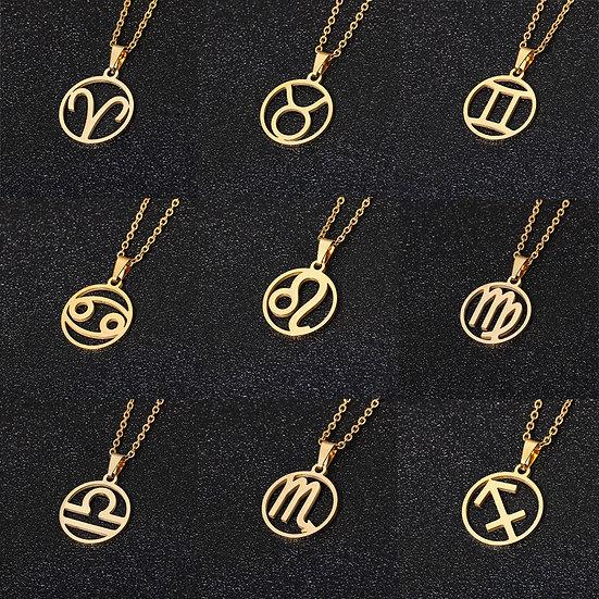 Rinhoo Stainless Steel Star Zodiac Sign12 Constellation Women and Men Gold Chain