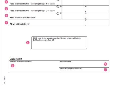 ترجمه فارسی  و راهنمای تکمیل فرم اظهارنامه مالیاتی برای مالیات بر سفرهای هوایی (skatt på flygresor)