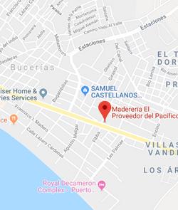 Madereria el proveedor del Pacifico Map.