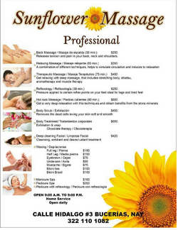 Price list Sunflower Massage