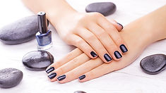manicure hands black nail polish gel polish manicure fingernails hot stone rocks