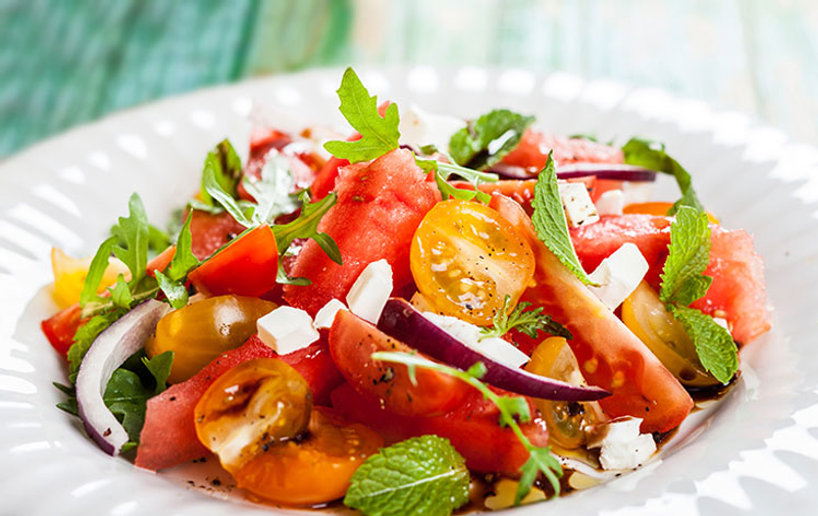 Healthy food Watermelon and tomato salad