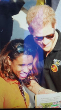 Xiomara Getrouw and Prince Harry, Duke of Sussex, at the Invictus Games