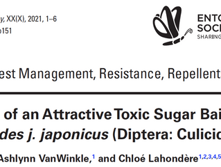 New paper published in the Journal of Medical Entomology