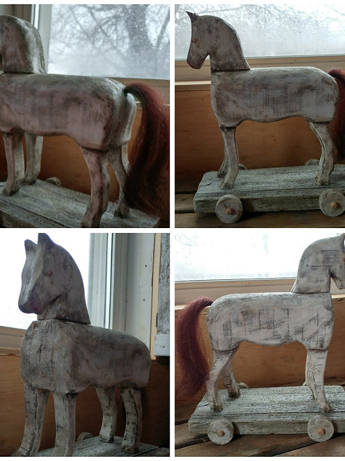 Large Solid Antique White Horse on Wheeled Stand