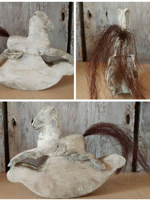 Tiny Carved Wooden Horse on Solid Rockers SOLD