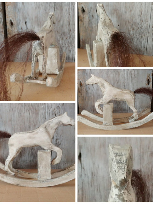 Small Antique White Jumping Horse on Rockers SOLD