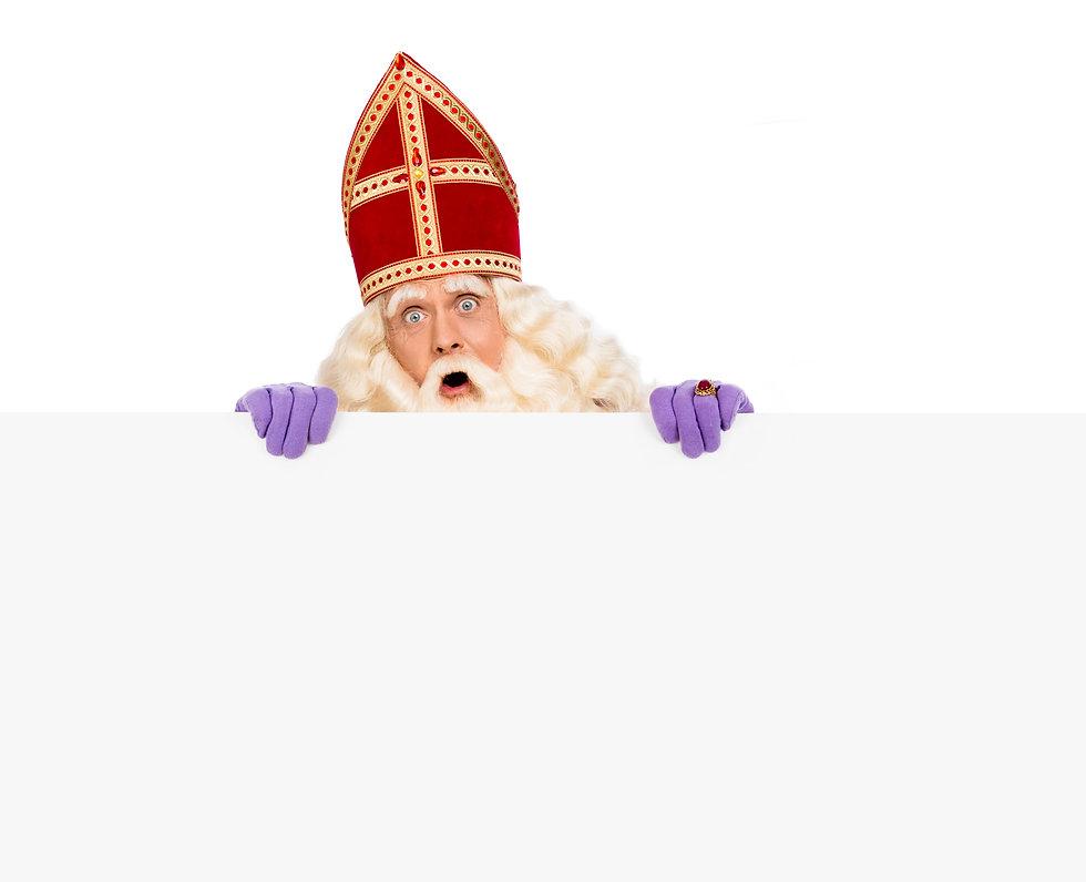 Sinterklaas or saint Nicholas holding bl