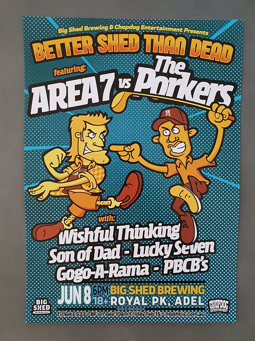 Area 7 vs Porkers Tour Poster A3 - Adelaide