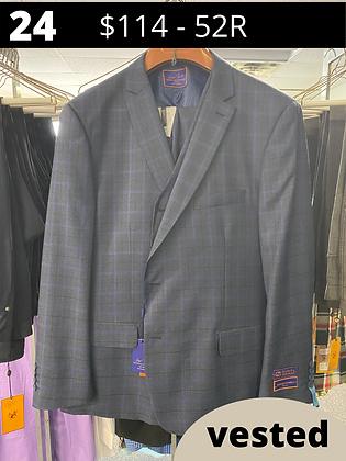 52R Navy Windowpane Fancy Suit with Vest