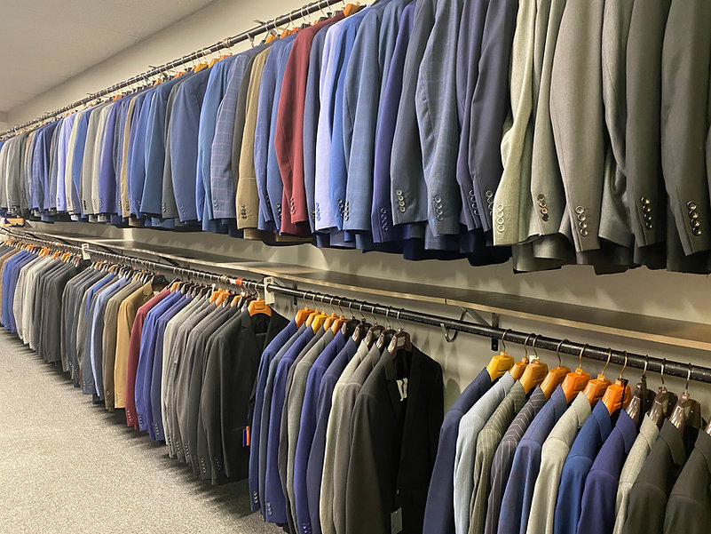 Image of wedding suits from Gurcan Tailor. We offer suit rentals in Rochester and Finger Lakes. This is just a small potion of our suits and tuxedos for sale.