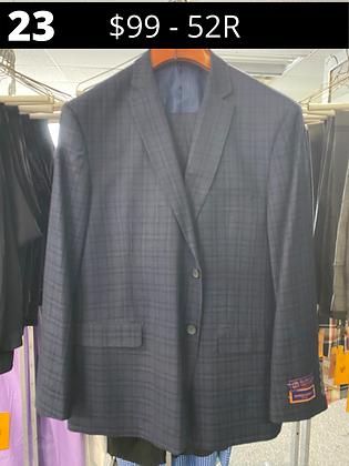 52R Navy Cjeckered Fancy Suit