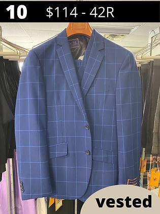 42R Royal Blue Windowpane Fancy Suit with Vest