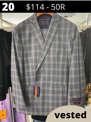 50R Lt blue Windowpane Fancy Suit with Vest