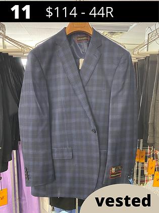 44R Navy Windowpane Fancy Suit with Vest