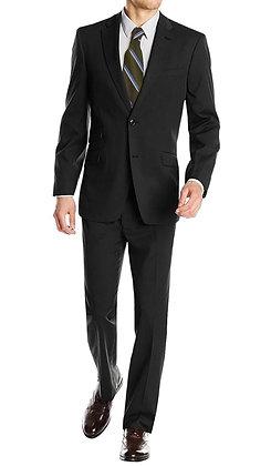Italian Men's Wool & Cashmere Suit - Black