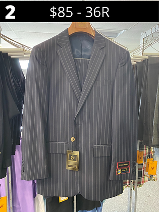 36R Charcoal Striped Fancy Suit