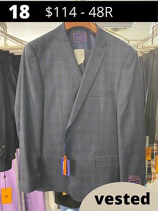 48R Navy Windowpane Fancy Suit with Vest