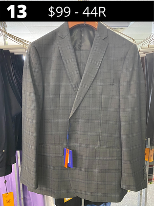44R Medium Gray with Blue Windpwpane Fancy Suit