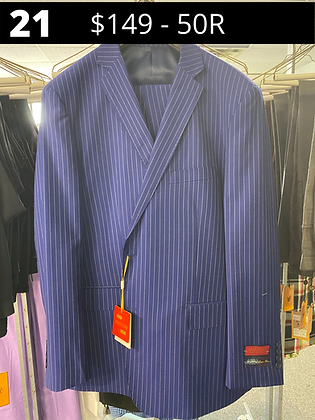 50R Royal Blue Striped Suit -  100% Wool