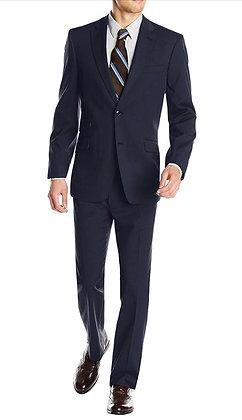 Italian Men's Wool & Cashmere Suit - Dark Navy