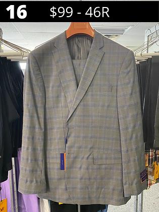 46R Grey with Blue Windowpane Fancy Suit