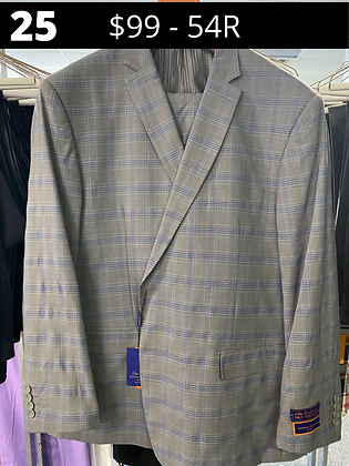 54R Lt Grey with BlueWindowpane Fancy Suit