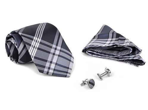 Plaid Poly Woven Tie, Hanky & Cufflink Set