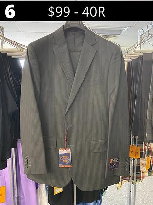 40R Charcoal Striped Fancy Suit