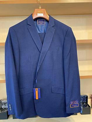 Giorgio Blue Checker Suit 44R - Prom, Wedding, Business