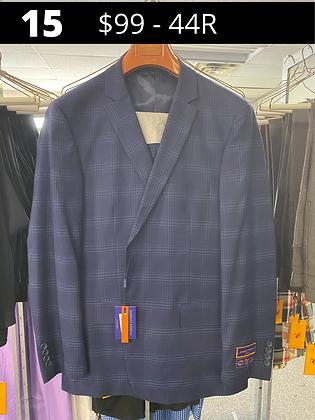 44R Royal Blue Windowpane Fancy Suit