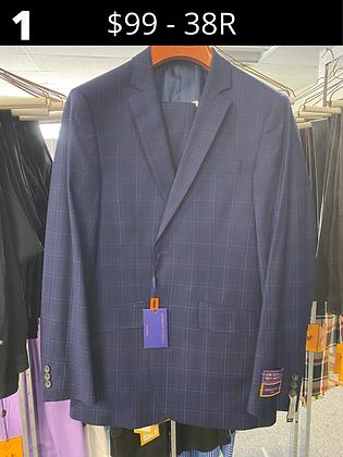 38R Navy Windowpane Fancy Suit