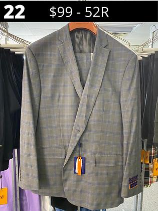 52R Grey with Blue Windowpane Fancy Suit