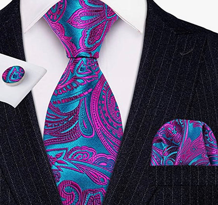 Silk Tie and Pocket Square Set with Cufflinks