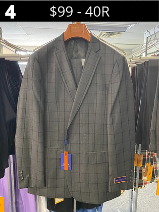 40R Medium Gray Windowpane Fancy Suit