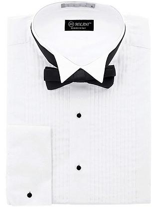 White Tuxedo Dress Shirt with Black Bowtie
