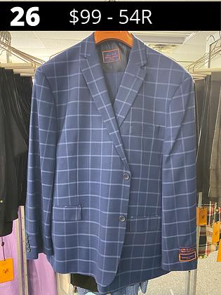 54R Royal Blue Windowpane Fancy Suit