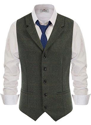 Herringbone Tweed Suit Vest - Wool Blend Slim Fit Waistcoat