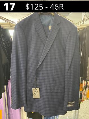 46R Navy Checker Fancy Suit