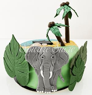 gateau éléphant - gateau jungle - gateau anniversaire éléphant - gateau anniversaire adult