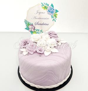 gateau fleurs - gateau marbre - gateau fleur- gateau roussillon - gateau anniversaire rous