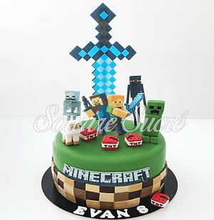 gateau anniversaire minecraft - gateau m