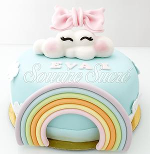 gateau nuage - gateau arc en ciel - gâteau à thème - gateau anniversaire - gateau sur comm