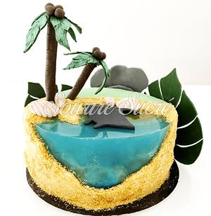 gateau hawai - gateau ocean - gateau anniversaire tropique - gateau mer - gâteau à thème -