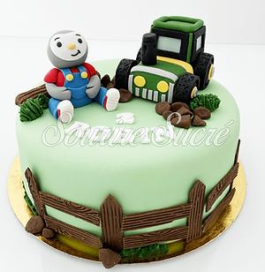 gateau tchoupi - gateau tracteur - gâteau à thème - gateau anniversaire - gateau sur comma