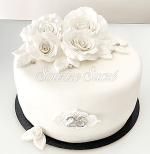 gateau fleur - gateau rose - gateau rose blanche - gateau roussillon - gateau anniversaire