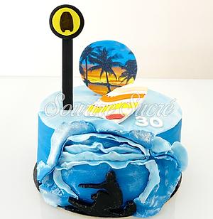 gateau surf - gateau ocean - gateau anniversaire surf - gateau surf adutle - gâteau à thèm