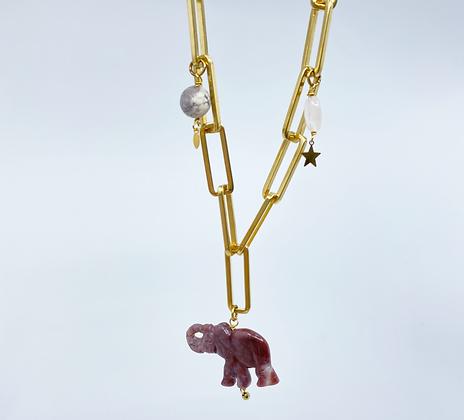 Chocker Lucky Elephant doux rose