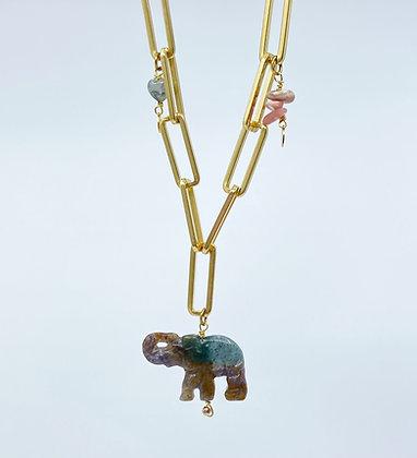 Chocker Lucky Elephant doux rose/vert